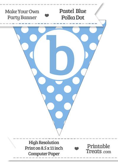 Pastel Blue Polka Dot Pennant Flag Lowercase Letter B from PrintableTreats.com