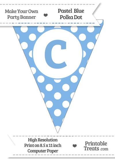 Pastel Blue Polka Dot Pennant Flag Lowercase Letter C from PrintableTreats.com