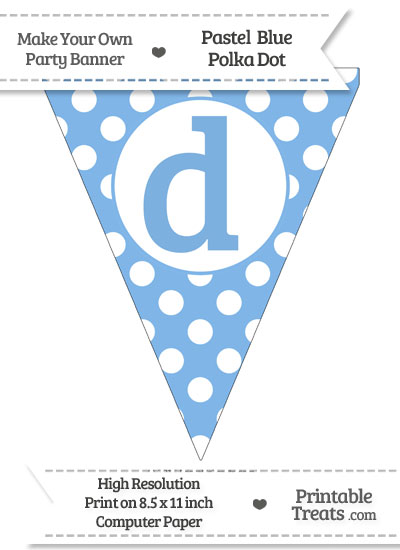 Pastel Blue Polka Dot Pennant Flag Lowercase Letter D from PrintableTreats.com