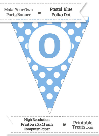 Pastel Blue Polka Dot Pennant Flag Lowercase Letter O from PrintableTreats.com