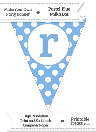 Pastel Blue Polka Dot Pennant Flag Lowercase Letter R from PrintableTreats.com