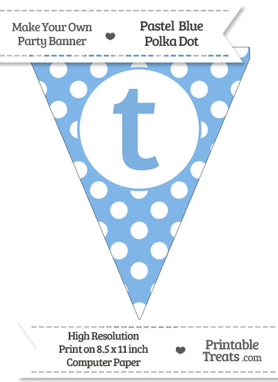 Pastel Blue Polka Dot Pennant Flag Lowercase Letter T from PrintableTreats.com