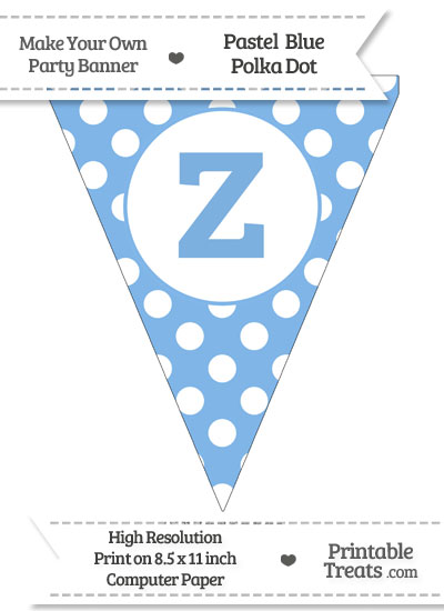 Pastel Blue Polka Dot Pennant Flag Lowercase Letter Z from PrintableTreats.com