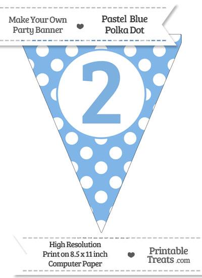 Pastel Blue Polka Dot Pennant Flag Number 2 from PrintableTreats.com