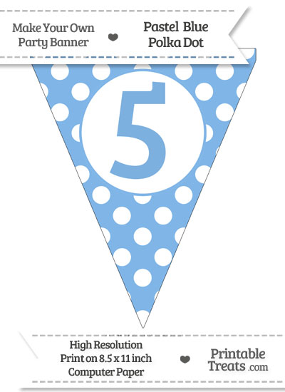 Pastel Blue Polka Dot Pennant Flag Number 5 from PrintableTreats.com