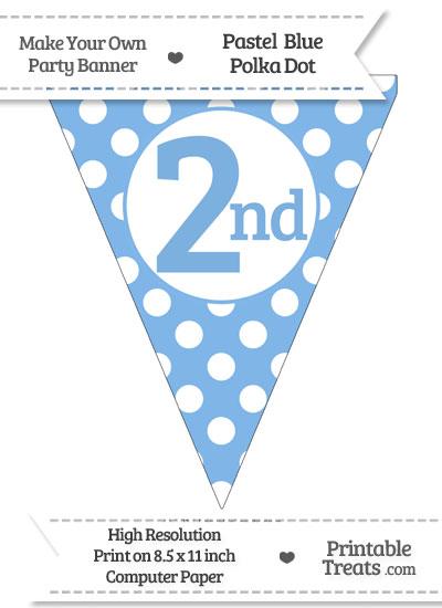 Pastel Blue Polka Dot Pennant Flag Ordinal Number 2nd from PrintableTreats.com