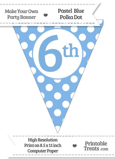 Pastel Blue Polka Dot Pennant Flag Ordinal Number 6th from PrintableTreats.com