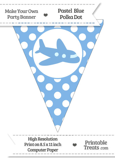 Pastel Blue Polka Dot Pennant Flag with Airplane Facing Right from PrintableTreats.com