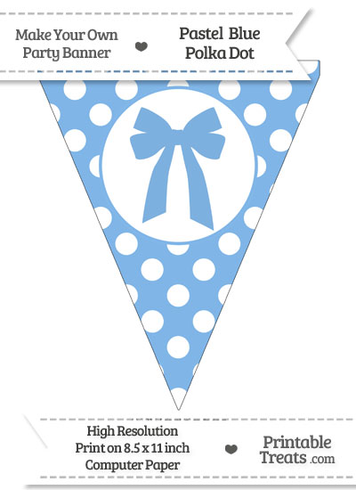 Pastel Blue Polka Dot Pennant Flag with Bow from PrintableTreats.com