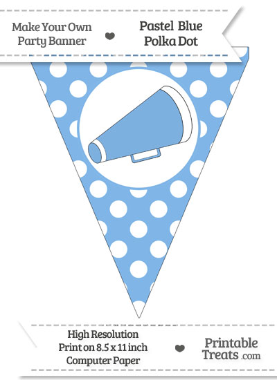 Pastel Blue Polka Dot Pennant Flag with Cheer Megaphone Facing Right from PrintableTreats.com