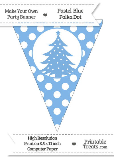 Pastel Blue Polka Dot Pennant Flag with Christmas Tree from PrintableTreats.com