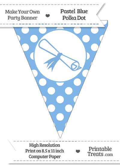 Pastel Blue Polka Dot Pennant Flag with Diploma from PrintableTreats.com