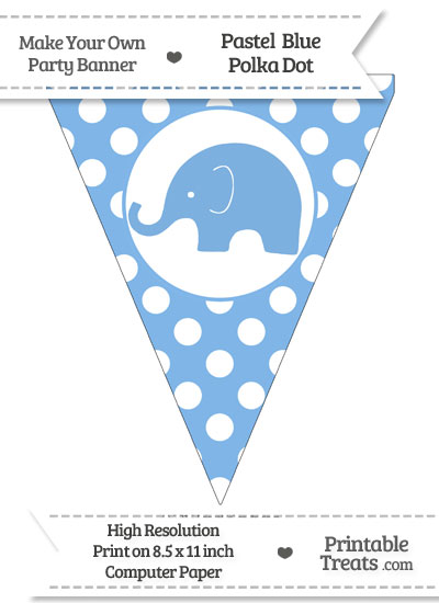 Pastel Blue Polka Dot Pennant Flag with Elephant Facing Left from PrintableTreats.com