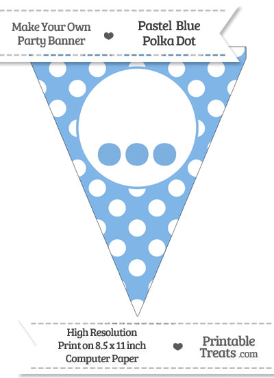 Pastel Blue Polka Dot Pennant Flag with Ellipses from PrintableTreats.com