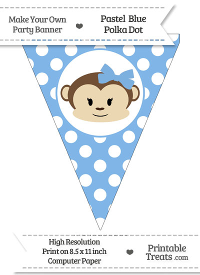 Pastel Blue Polka Dot Pennant Flag with Girl Monkey from PrintableTreats.com