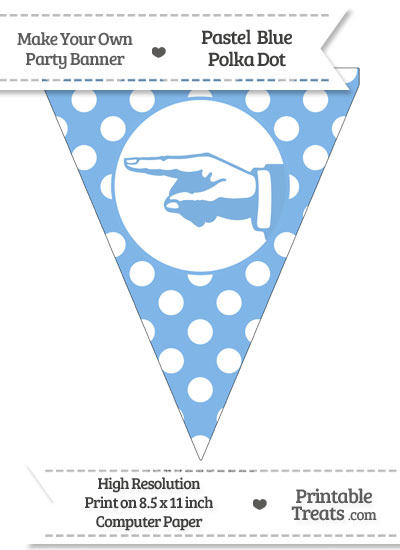 Pastel Blue Polka Dot Pennant Flag with Hand Pointing Left from PrintableTreats.com