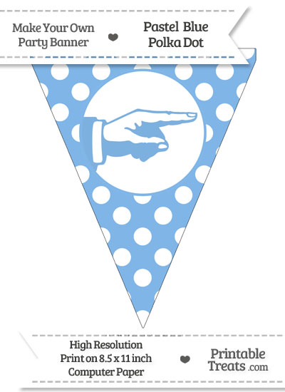 Pastel Blue Polka Dot Pennant Flag with Hand Pointing Right from PrintableTreats.com