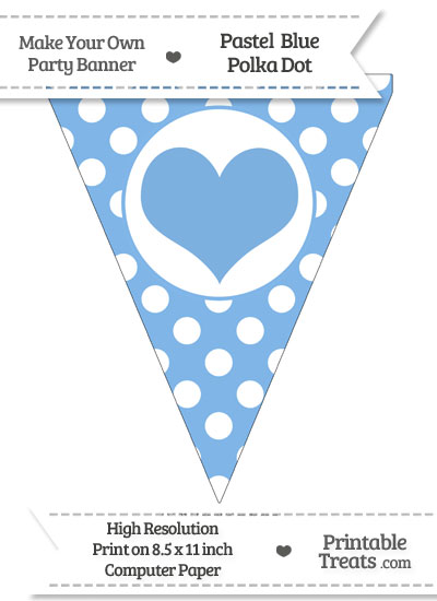 Pastel Blue Polka Dot Pennant Flag with Heart from PrintableTreats.com