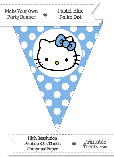 Pastel Blue Polka Dot Pennant Flag with Hello Kitty from PrintableTreats.com
