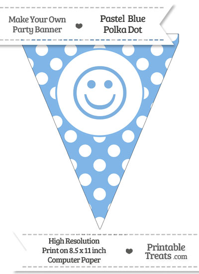 Pastel Blue Polka Dot Pennant Flag with Smiley Face from PrintableTreats.com