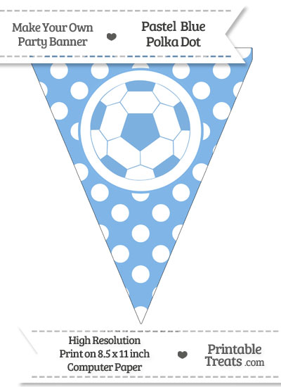 Pastel Blue Polka Dot Pennant Flag with Soccer Ball from PrintableTreats.com