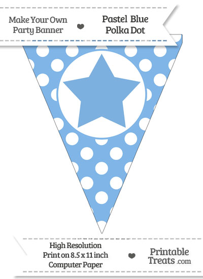 Pastel Blue Polka Dot Pennant Flag with Star from PrintableTreats.com