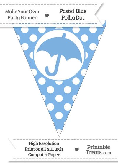 Pastel Blue Polka Dot Pennant Flag with Umbrella from PrintableTreats.com