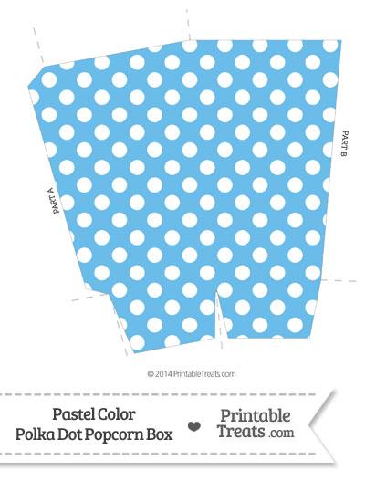 Pastel Blue Polka Dot Popcorn Box from PrintableTreats.com