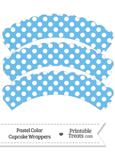 Pastel Blue Polka Dot Scalloped Cupcake Wrappers from PrintableTreats.com