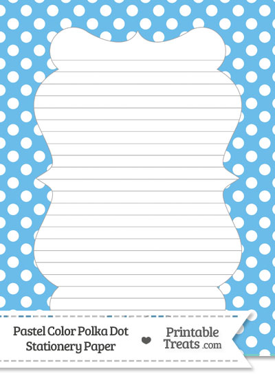 Pastel Blue Polka Dot Stationery Paper from PrintableTreats.com