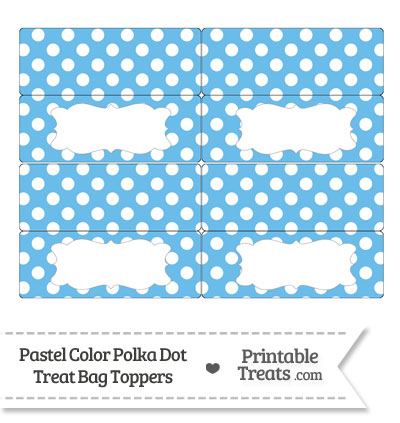 Pastel Blue Polka Dot Treat Bag Toppers from PrintableTreats.com