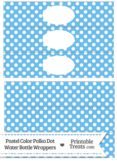Pastel Blue Polka Dot Water Bottle Wrappers from PrintableTreats.com