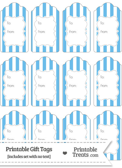 Pastel Blue Striped Gift Tags from PrintableTreats.com