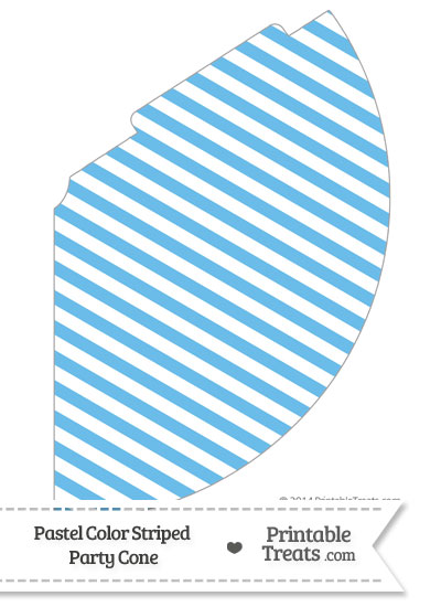 Pastel Blue Striped Party Cone from PrintableTreats.com