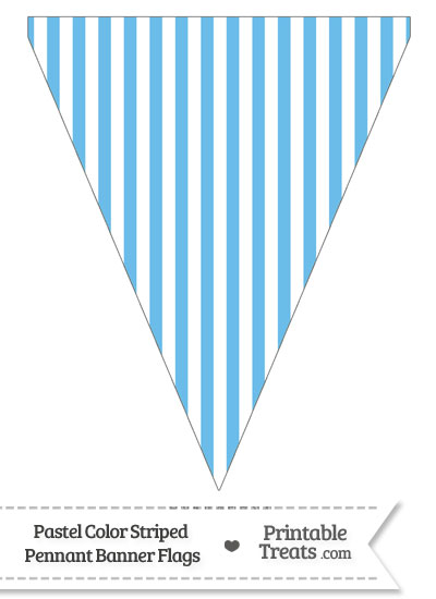 Pastel Blue Striped Pennant Banner Flag from PrintableTreats.com