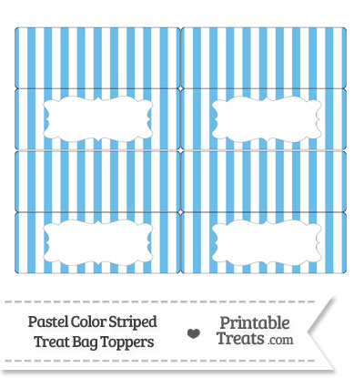 Pastel Blue Striped Treat Bag Toppers from PrintableTreats.com