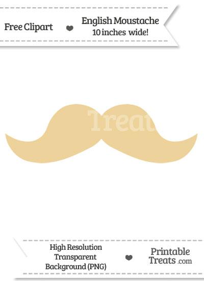 Pastel Bright Orange English Mustache Clipart from PrintableTreats.com