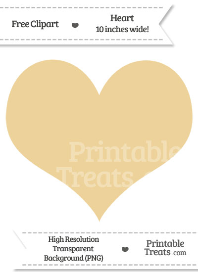 Pastel Bright Orange Heart Clipart from PrintableTreats.com