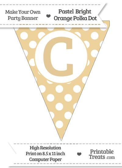 Pastel Bright Orange Polka Dot Pennant Flag Capital Letter C from PrintableTreats.com