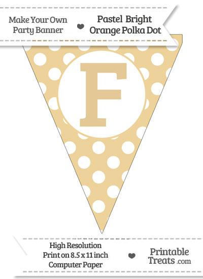 Pastel Bright Orange Polka Dot Pennant Flag Capital Letter F from PrintableTreats.com