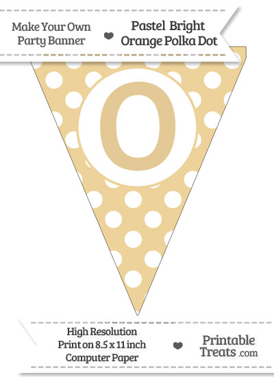 Pastel Bright Orange Polka Dot Pennant Flag Capital Letter O from PrintableTreats.com