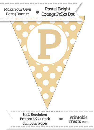 Pastel Bright Orange Polka Dot Pennant Flag Capital Letter P from PrintableTreats.com