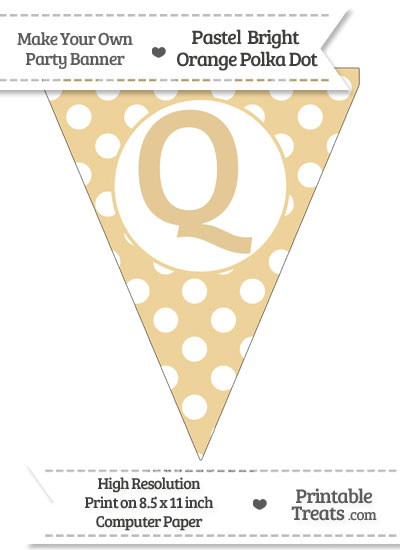 Pastel Bright Orange Polka Dot Pennant Flag Capital Letter Q from PrintableTreats.com