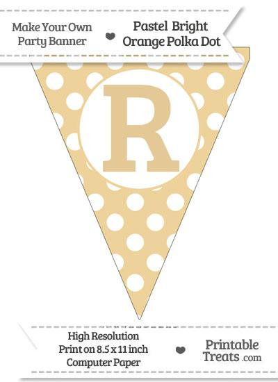 Pastel Bright Orange Polka Dot Pennant Flag Capital Letter R from PrintableTreats.com