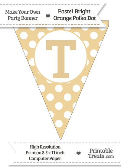 Pastel Bright Orange Polka Dot Pennant Flag Capital Letter T from PrintableTreats.com