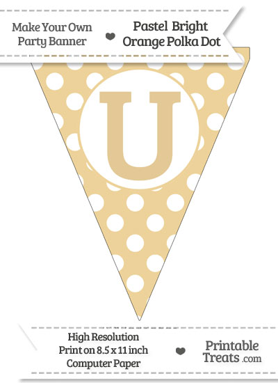 Pastel Bright Orange Polka Dot Pennant Flag Capital Letter U from PrintableTreats.com