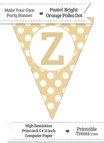 Pastel Bright Orange Polka Dot Pennant Flag Capital Letter Z from PrintableTreats.com
