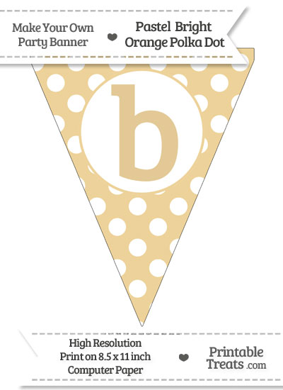Pastel Bright Orange Polka Dot Pennant Flag Lowercase Letter B from PrintableTreats.com