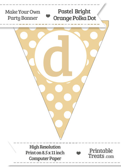 Pastel Bright Orange Polka Dot Pennant Flag Lowercase Letter D from PrintableTreats.com