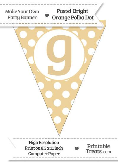 Pastel Bright Orange Polka Dot Pennant Flag Lowercase Letter G from PrintableTreats.com